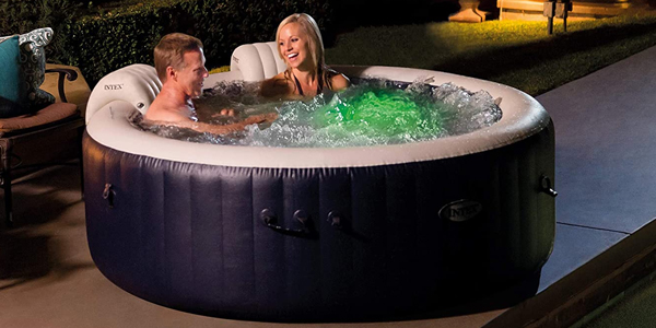 Intex PureSpa Plus 4 Person Portable Inflatable Hot Tub Bubble Jet Spa – couple relaxing